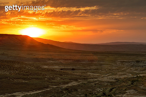 Azerbaijan, Gobustan, Gobustan National Park at sunrise - gettyimageskorea