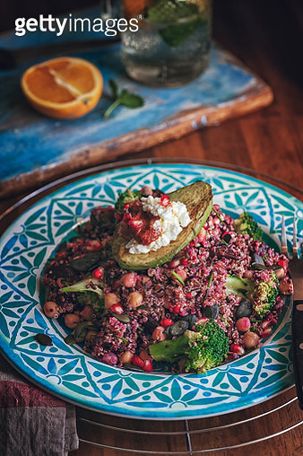 Healthy Vegan Quinoa Salad with Red Beet, Avocado and Cottage Cheese - gettyimageskorea