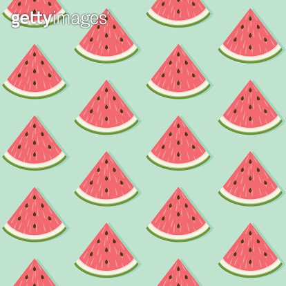 A seamless pattern made out of watermelon slices. No gradients were used when creating this illustration. - gettyimageskorea
