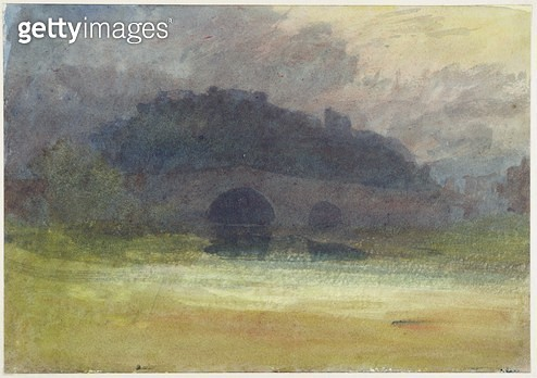 <b>Title</b> : Evening Landscape with Castle and Bridge in Yorkshire, c.1798-99 (w/c on wove paper)<br><b>Medium</b> : watercolour on wove paper<br><b>Location</b> : Yale Center for British Art, Paul Mellon Collection, USA<br> - gettyimageskorea