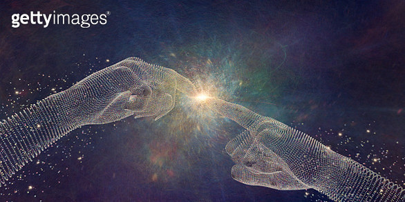 Abstract Particle Hands Touching Fingertips At Point Of Light - gettyimageskorea