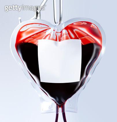 Heart shaped blood bag close up - gettyimageskorea