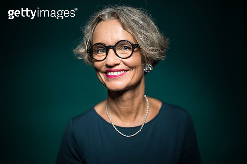 Happy Woman In Eyeglasses Against Green Background - gettyimageskorea