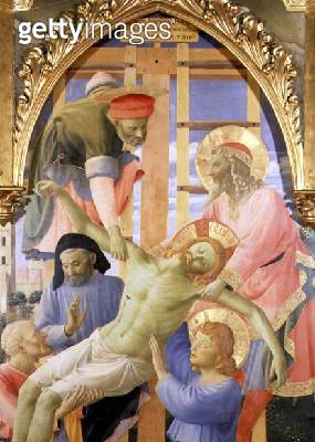 <b>Title</b> : Santa Trinita Altarpiece, detail of the dead Christ being lowered from the cross, c.1434 (tempera & gold on panel)<br><b>Medium</b> : tempera and gold on panel<br><b>Location</b> : Museo di San Marco dell'Angelico, Florence, Italy<br> - gettyimageskorea