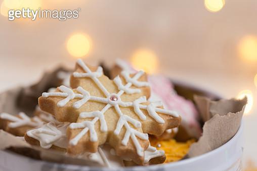 Close-up of Snowflake cookies - gettyimageskorea