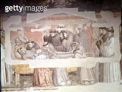 <b>Title</b> : The Death of St. Francis, detail of bier and mourners, from the Bardi chapel (fresco)  (see also 63380, 63329, 99677)<br><b>Medium</b> : fresco<br><b>Location</b> : Santa Croce, Florence, Italy<br> - gettyimageskorea