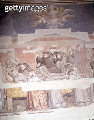 The Death of St. Francis/ detail of bier/ from the Bardi chapel (fresco) (see also 63380/ 63329/ 99676) - gettyimageskorea
