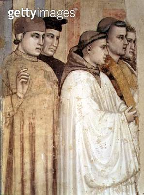 <b>Title</b> : The Death of St. Francis, detail of the standing mourners on the left hand side, from the Bardi chapel (fresco) (detail of 63330<br><b>Medium</b> : fresco<br><b>Location</b> : Santa Croce, Florence, Italy<br> - gettyimageskorea