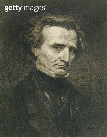 <b>Title</b> : Portrait of Hector Berlioz (1803-69) engraved by A. Gilbert, pub. in the 'Gazette des Beaux-Arts' (engraving)<br><b>Medium</b> : engraving<br><b>Location</b> : Private Collection<br> - gettyimageskorea
