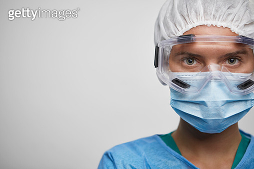 Portrait Of Young Female Nurse/Doctor in Protective Suit - gettyimageskorea
