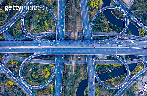 Aerial view of overpass pattern - gettyimageskorea
