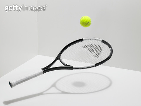 Tennis racket and ball on white background - gettyimageskorea