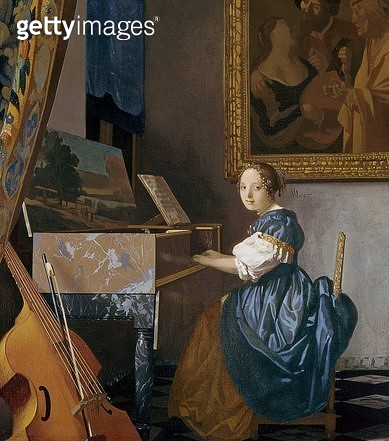 <b>Title</b> : A Young Lady Seated at a Virginal, c.1670 (oil on canvas)<br><b>Medium</b> : oil on canvas<br><b>Location</b> : National Gallery, London, UK<br> - gettyimageskorea