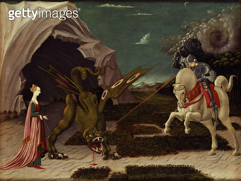 <b>Title</b> : St. George and the Dragon, c.1470 (oil on canvas) (for detail see 85548)<br><b>Medium</b> : oil on canvas<br><b>Location</b> : National Gallery, London, UK<br> - gettyimageskorea