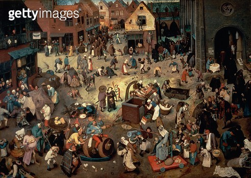 <b>Title</b> : Fight between Carnival and Lent, 1559 (oil on oak panel)<br><b>Medium</b> : oil on oak panel<br><b>Location</b> : Kunsthistorisches Museum, Vienna, Austria<br> - gettyimageskorea