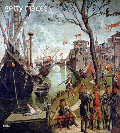 <b>Title</b> : Arrival of St.Ursula during the Siege of Cologne, from the St. Ursula Cycle, 1498 (oil on canvas)<br><b>Medium</b> : oil on canvas<br><b>Location</b> : Galleria dell' Accademia, Venice, Italy<br> - gettyimageskorea