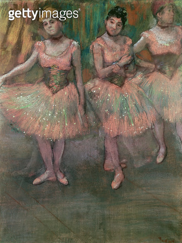 <b>Title</b> : Dancers wearing salmon coloured skirts (pastel)<br><b>Medium</b> : <br><b>Location</b> : Private Collection<br> - gettyimageskorea