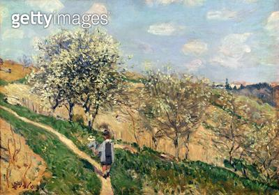 <b>Title</b> : Springtime at Bougival (oil on canvas)<br><b>Medium</b> : <br><b>Location</b> : Private Collection<br> - gettyimageskorea