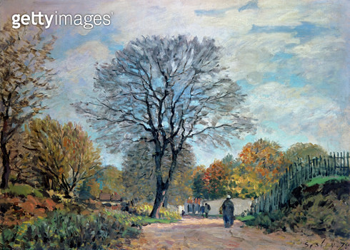 <b>Title</b> : A Road in Seine-et-Marne, 1878<br><b>Medium</b> : <br><b>Location</b> : Private Collection<br> - gettyimageskorea