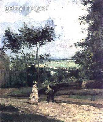 <b>Title</b> : The Courtyard at Louveciennes<br><b>Medium</b> : oil on canvas<br><b>Location</b> : Private Collection<br> - gettyimageskorea