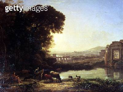 Cattle and Goats drinking by a ruin - gettyimageskorea
