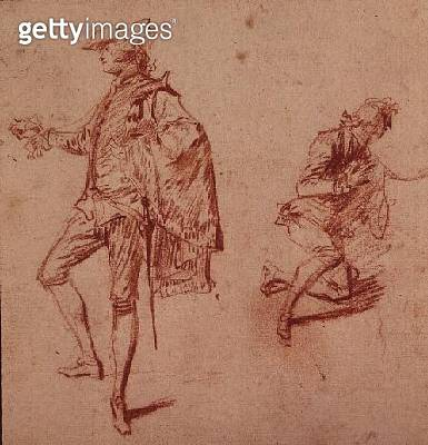<b>Title</b> : Drawing of a young man standing and another kneeling (crayon paper)<br><b>Medium</b> : crayon on paper<br><b>Location</b> : Private Collection<br> - gettyimageskorea