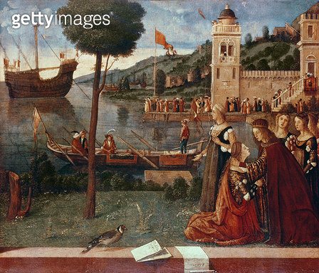 <b>Title</b> : St.Ursula taking leave of her father, c.1500 (oil on panel)<br><b>Medium</b> : oil on panel<br><b>Location</b> : National Gallery, London, UK<br> - gettyimageskorea