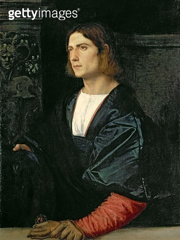 <b>Title</b> : Young Man with Cap and Gloves, c.1515 (oil on canvas)Additional InfoCollection of the Earl of Halifax, Garrowby Hall, Yorkshire;<br><b>Medium</b> : oil on canvas<br><b>Location</b> : National Gallery, London (On Loan) UK<br> - gettyimageskorea