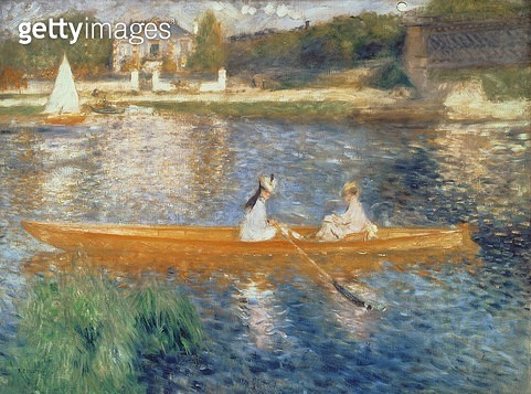 <b>Title</b> : Boating on the Seine, c.1879 (oil on canvas)<br><b>Medium</b> : oil on canvas<br><b>Location</b> : National Gallery, London, UK<br> - gettyimageskorea