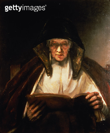 <b>Title</b> : Old Woman Reading (oil on canvas)<br><b>Medium</b> : <br><b>Location</b> : Private Collection<br> - gettyimageskorea