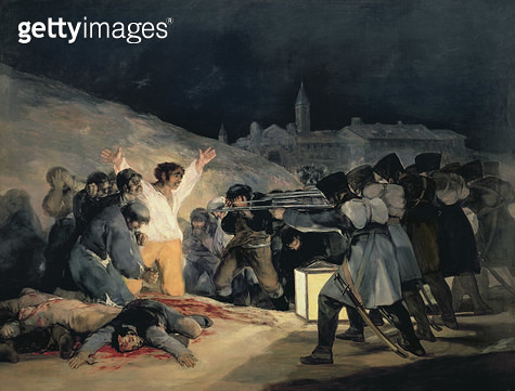 <b>Title</b> : Execution of the Defenders of Madrid, 3rd May, 1808, 1814 (see also 155453 for detail)<br><b>Medium</b> : oil on canvas<br><b>Location</b> : Prado, Madrid, Spain<br> - gettyimageskorea