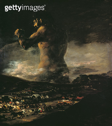 <b>Title</b> : The Colossus, c.1808 (oil on canvas)<br><b>Medium</b> : oil on canvas<br><b>Location</b> : Prado, Madrid, Spain<br> - gettyimageskorea
