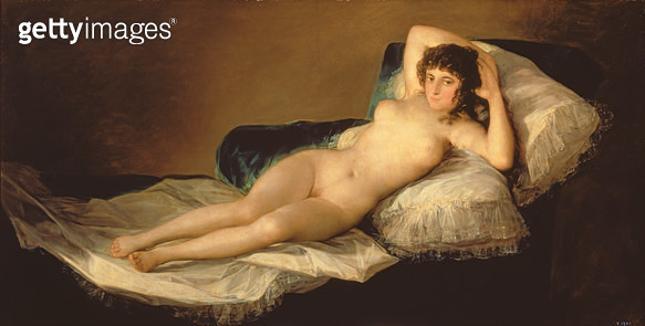 <b>Title</b> : The Naked Maja, c.1800 (oil on canvas)<br><b>Medium</b> : oil on canvas<br><b>Location</b> : Prado, Madrid, Spain<br> - gettyimageskorea