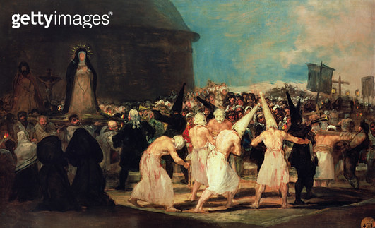 <b>Title</b> : Procession of Flagellants, 1815-19 (oil on canvas)<br><b>Medium</b> : oil on canvas<br><b>Location</b> : Real Academia de Bellas Artes de San Fernando, Madrid, Spain<br> - gettyimageskorea