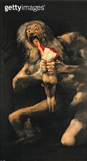 <b>Title</b> : Saturn Devouring one of his Children, 1821-23 (oil on canvas)<br><b>Medium</b> : oil on canvas<br><b>Location</b> : Prado, Madrid, Spain<br> - gettyimageskorea