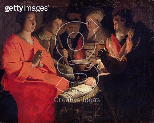 <b>Title</b> : Adoration of the Shepherds (oil on canvas)<br><b>Medium</b> : oil on canvas<br><b>Location</b> : Louvre, Paris, France<br> - gettyimageskorea