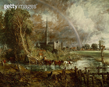 <b>Title</b> : Salisbury Cathedral From the Meadows, 1831 (see 188984-188985 for details)<br><b>Medium</b> : <br><b>Location</b> : Private Collection<br> - gettyimageskorea