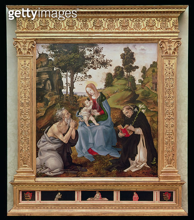 Virgin and Child with St. Jerome and St. Dominic (oil and tempera on panel) - gettyimageskorea