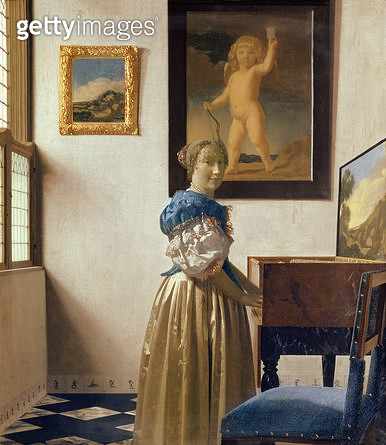 <b>Title</b> : Lady standing at the Virginal, c.1672-73 (oil on canvas)<br><b>Medium</b> : oil on canvas<br><b>Location</b> : National Gallery, London, UK<br> - gettyimageskorea