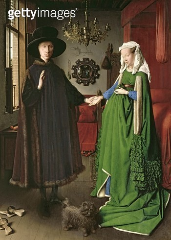 <b>Title</b> : The Portrait of Giovanni (?) Arnolfini and his Wife Giovanna Cenami (?) (The Arnolfini Marriage) 1434 (oil on panel)<br><b>Medium</b> : oil on panel<br><b>Location</b> : National Gallery, London, UK<br> - gettyimageskorea