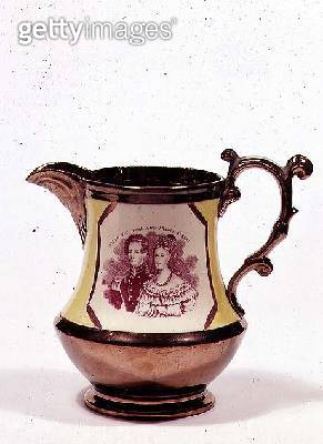<b>Title</b> : Lustreware jug commemorating the wedding of Queen Victoria, 1840 (ceramic)Additional InfoVictoria (1819-1901); Prince Albert (18<br><b>Medium</b> : ceramic<br><b>Location</b> : Private Collection<br> - gettyimageskorea