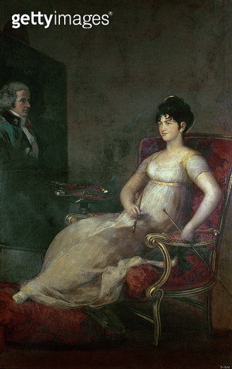 <b>Title</b> : The Marquesa de Villafranca Painting her Husband, 1804 (oil on canvas)<br><b>Medium</b> : oil on canvas<br><b>Location</b> : Prado, Madrid, Spain<br> - gettyimageskorea