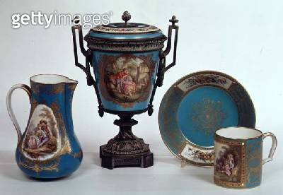 <b>Title</b> : Sevres blue celeste jug, mug, urn and plate, all early 18th century<br><b>Medium</b> : porcelain<br><b>Location</b> : Bonhams, London, UK<br> - gettyimageskorea