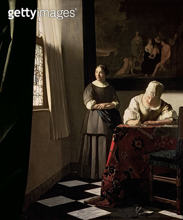 <b>Title</b> : Lady writing a letter with her Maid, c.1670 (oil on canvas)<br><b>Medium</b> : oil on canvas<br><b>Location</b> : National Gallery of Ireland, Dublin, Ireland<br> - gettyimageskorea