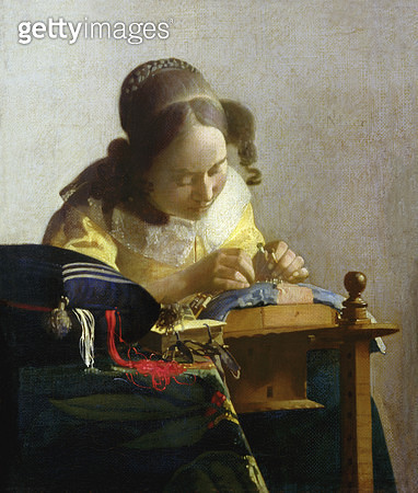 <b>Title</b> : The Lacemaker, 1669-70 (oil on canvas)<br><b>Medium</b> : oil on canvas laid on panel<br><b>Location</b> : Louvre, Paris, France<br> - gettyimageskorea