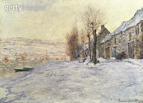 <b>Title</b> : Lavacourt under Snow, c.1878-81 (oil on canvas)<br><b>Medium</b> : oil on canvas<br><b>Location</b> : National Gallery, London, UK<br> - gettyimageskorea