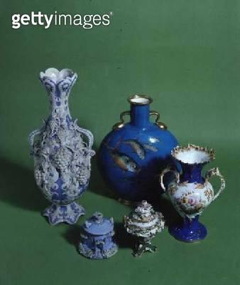 Coalport rococo style vase/ 19th century; and Minton rococo style vases/ 1870 - gettyimageskorea