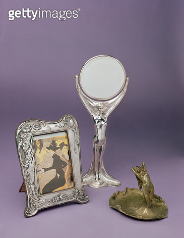 Art-Nouveau mirror/ photograph frame and ashtray/ late 19th century - gettyimageskorea
