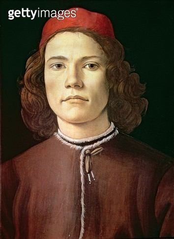 <b>Title</b> : Portrait of a Young Man, c.1480-85 (tempera & oil on panel)<br><b>Medium</b> : tempera and oil on panel<br><b>Location</b> : National Gallery, London, UK<br> - gettyimageskorea