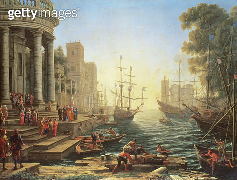 <b>Title</b> : Seaport with the Embarkation of St. Ursula (oil on canvas)<br><b>Medium</b> : oil on canvas<br><b>Location</b> : National Gallery, London, UK<br> - gettyimageskorea